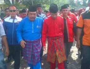 Diusung PDIP dan Demokrat Sulaiman-Charis Daftar ke KPU Bengkalis