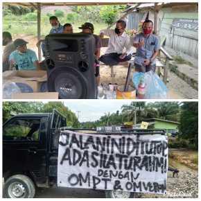 Ditengah Wabah Covid 19, Pemuda dan Mahasiswa Kayu Ara Blokir Jalan Poros Utama