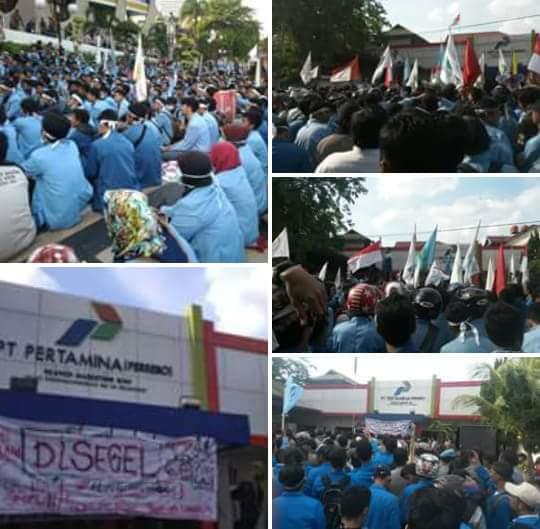 Harga BBM Kembali Naik, Aliansi Riau Menggungat Segel Kantor Pertamina
