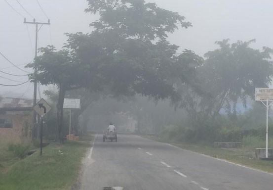 Pulau Bengkalis Diselimuti Kabut Asap Pekat
