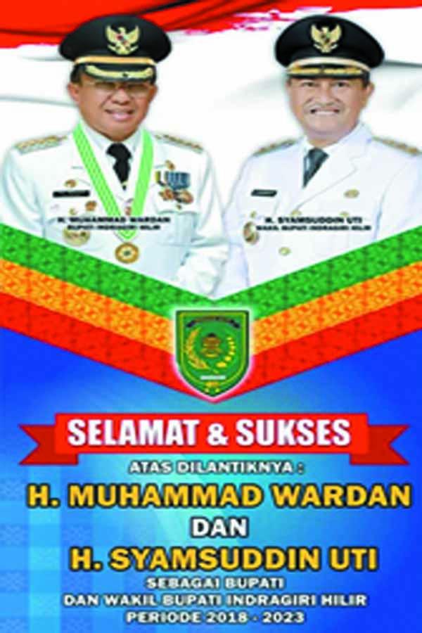 Wardan-Syamsudin Uti Dilantik sebagai Bupati dan Wakil Bupati Inhil oleh Plt Gubri