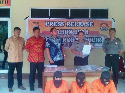 Tiga Pelaku Perampokan Uang Rp 800 Juta Berhasil di Tangkap Polres Rohil